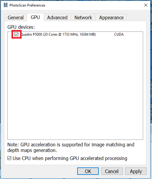 GPU Acceleration in Agisoft Photoscan